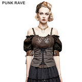 Steampunk Gear Burnt Out Stretchy Knitted Twill Punk Vest
