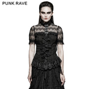 Elegant Women 100% Cotton Lace Collar Tunic Ruffle Gothic Shirt