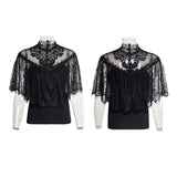 Gorgeous Floral Pattern Sleeveless Light Lace Gothic T-Shirt