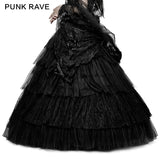 Party Elastic High Waist Flowers Mesh Prom Gothic Skirt