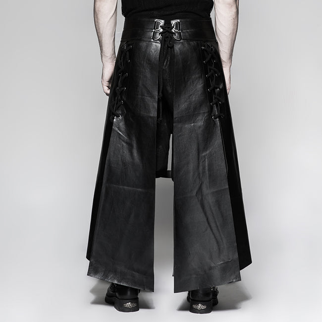 Six Pieces Male Leather Eyelet Drawstring Punk Skirt