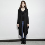 The Darkness Fleece Gothic Jackets With Irregular Bottom Hem
