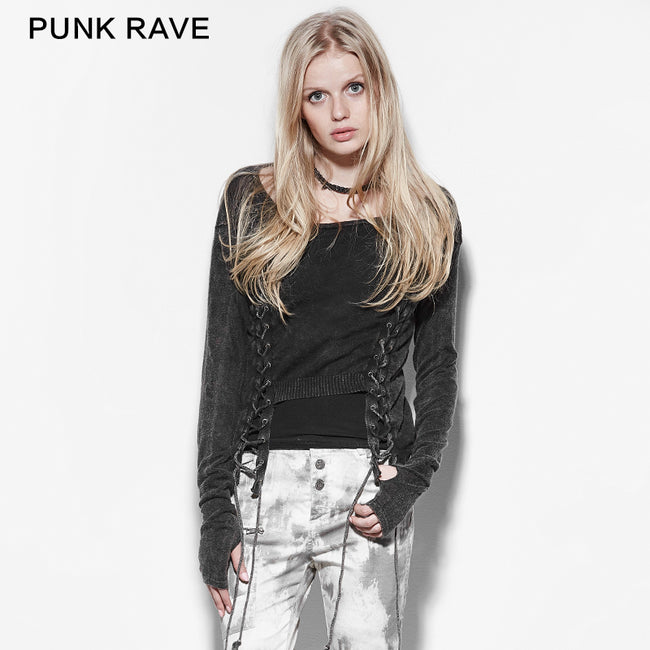 Double Row Corns Punk Sweaters With Metal Eyelets Through Cotton Rope