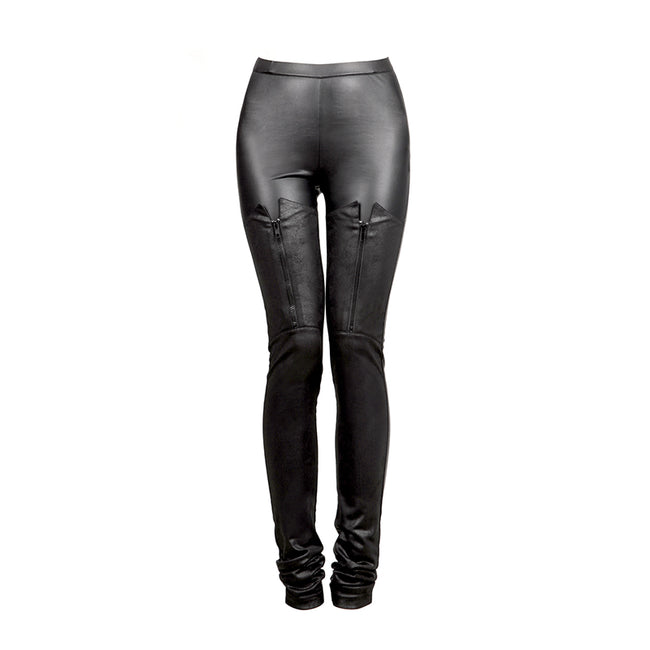Black Tight Gothic Pants With Zips At Front