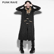 Black Mechanism Of Pattern Loose Sleeveless Hooded Punk Sweaters