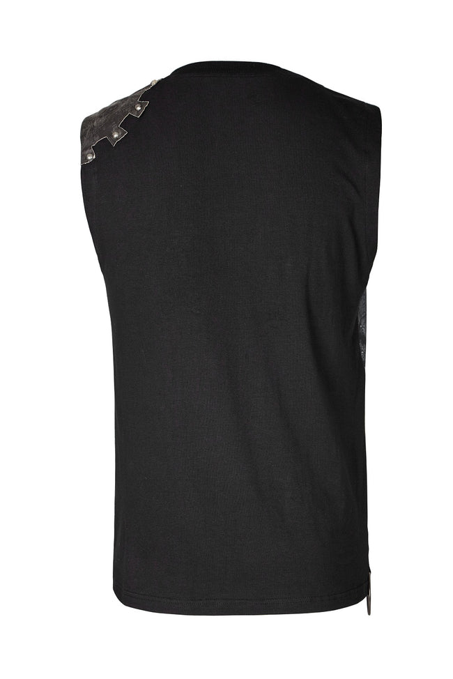 Summer Printed Mens Black Sleeveless Punk Vest