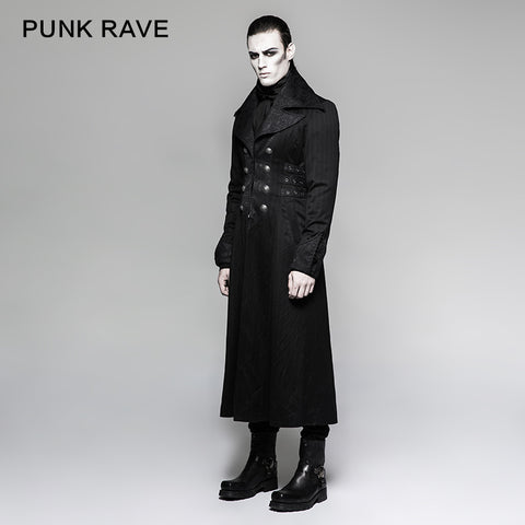 Branded Classical Extra Long Men Striped Punk Coat