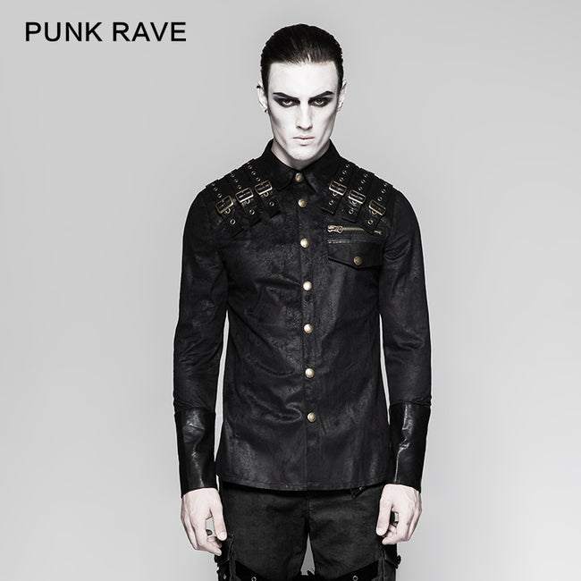 Heavy Metal Texture Shoulder Leather Coating Punk Shirts