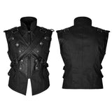 Military Uniform Cross Belt Inelastic Laminating Denim Punk Vest