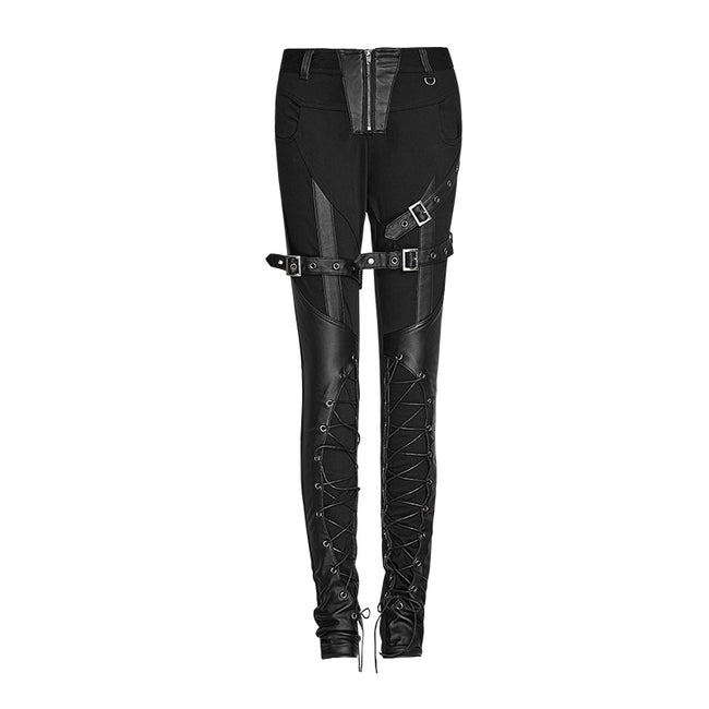 Latest Fashion Sexy Slim Lace Up Skinny Gothic Pants For Women