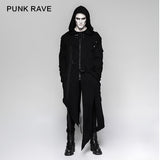 Black Men's Hooded Long Sweater Punk Jacket With Stripes