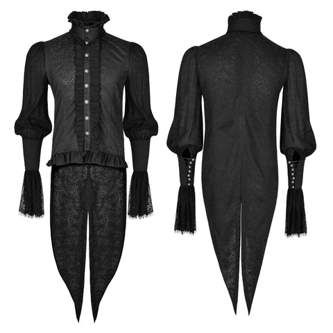 Lace Puff Sleeves Brocade Swallow-tailed Men Gothic Shirt