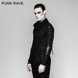 Rock Zipper High Collar Drawstring Long Sleeve Punk T-shirts