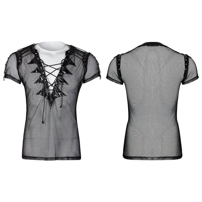 Transparent Short Sleeves Gothic T-shirts With Bat Wings Collar
