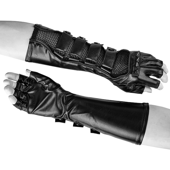Punk Accessories Length Delicate Mesh Leather Mens Gloves