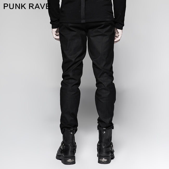 Straight-leg Trousers Men Fasteners Metal Punk Pants