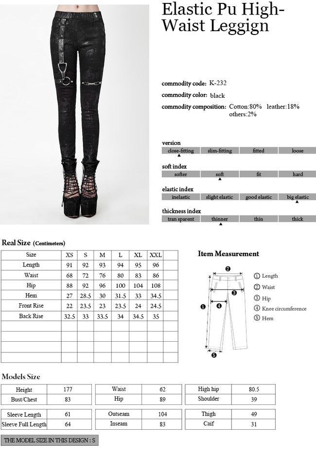 Winter Sexy Elastic Waist Skinny Punk Pants With Leather Straps For Women