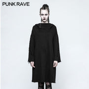 Black Loose Sleeve Punk Hoodies With Adjustable Drawstring