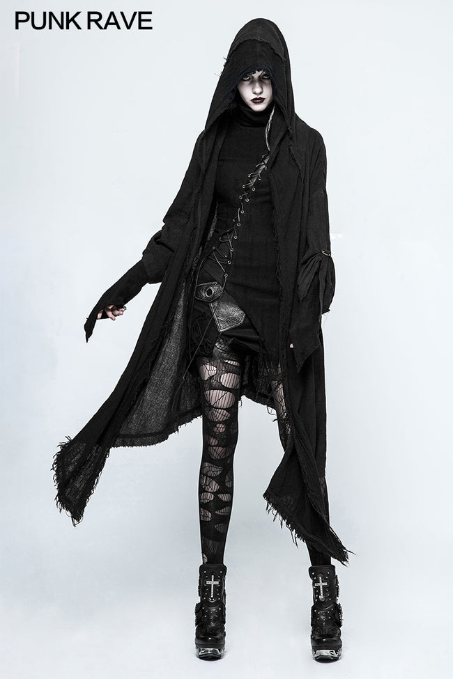 Fashion Loose Death Black Punk Hoodies Coat For Women