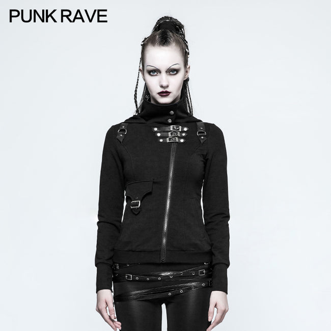 Slim Well-fitting Elastic Hooded Punk Sweaters For Women