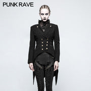 Women Swallow Tail Worsted Black Punk Jacket With Bronze Accessories