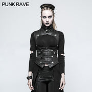 Black Leather Punk Vest Waistcoat Women Slim Joker Style