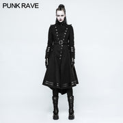 Asymmetry Worsted Long Punk Coat Women Black Military Uniform