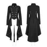 Worsted Long Punk Coat Lapel Collar Military Uniform For Women