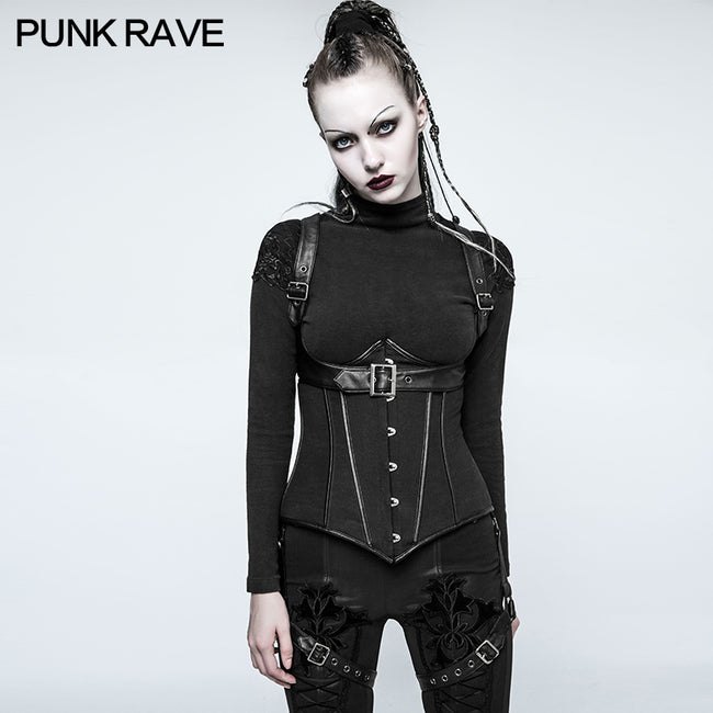 Fashion Three Piece Punk Accessories Corset Military Uniform With Removable Leg Set