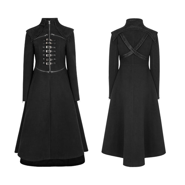 Handsome Long Black Punk Coat For Women Worsted Fabric Dress