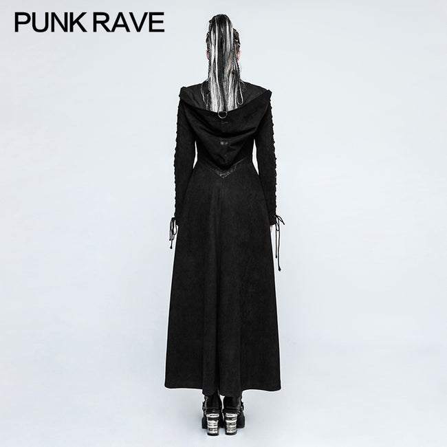 Women Dark Angel Long Gothic Coat Hooded Fake Two Piece