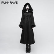 Women Disc Flowers Worsted Long Gothic Coat With Hooded