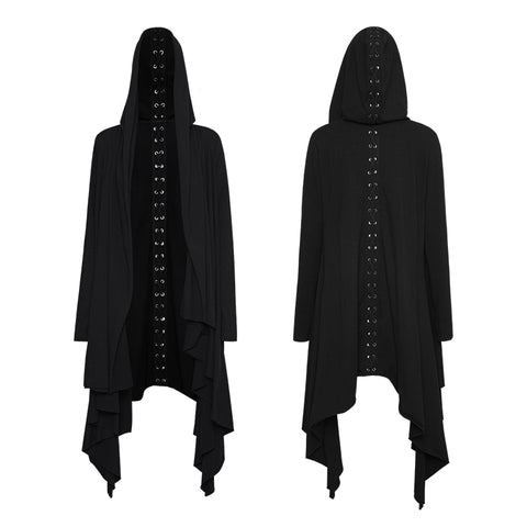 Women Black Knitted Hooded Gothic Jacket With Asymmetry Placket Design