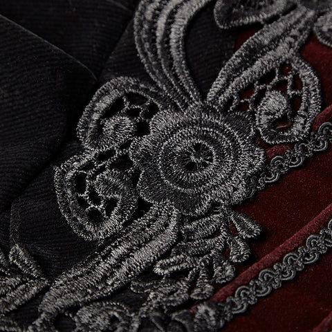Women Scissor-tail Velvet Short Gothic Jackets With Black-red Rose Lace