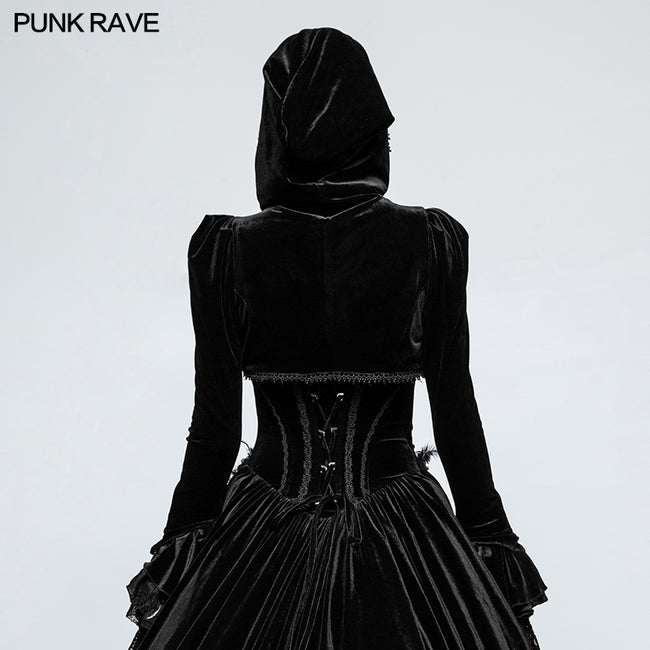 Fashion Luxury Velvet Hooded Short Gothic Coat For Women
