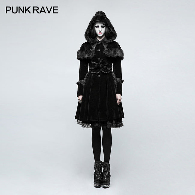 Sweet Lolita Style Velvet Hooded Gothic Coat With Tiered Lace