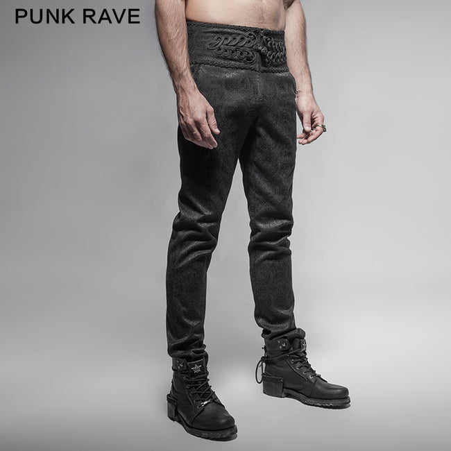 Black Spring New Chinese Knot Skinny Gothic Pants For Men
