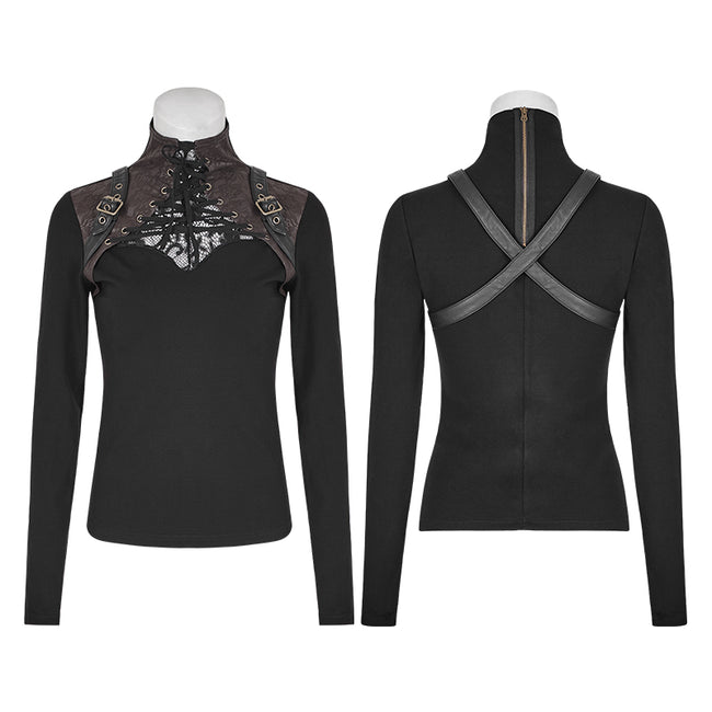 Steampunk Anti-straps Long Sleeve Punk T-shirts With High Neck Collar