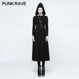 Slim Sexy Black Knitted Hooded Gothic Dresses With Hollow-out Back