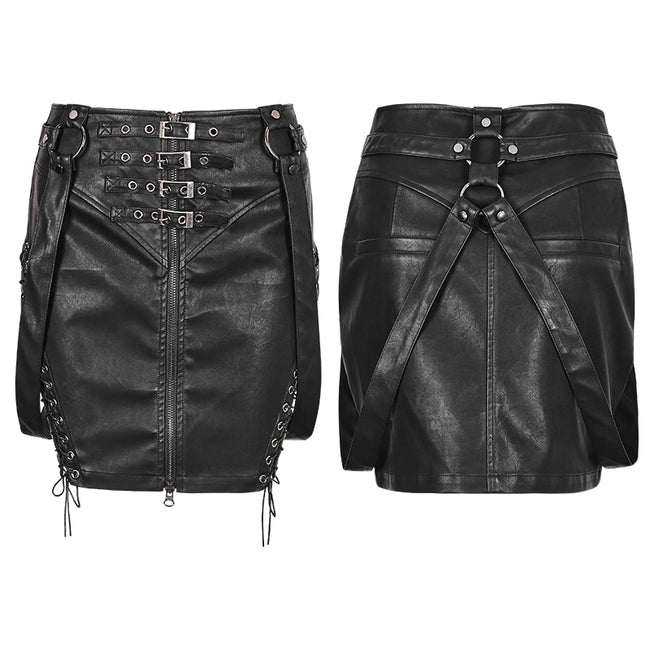 Personality Leather Black Half Punk Skirt With Snap Button