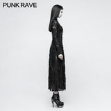 Vintage Rose Lace Mesh Black Long Gothic Dresses With Multi-split Design