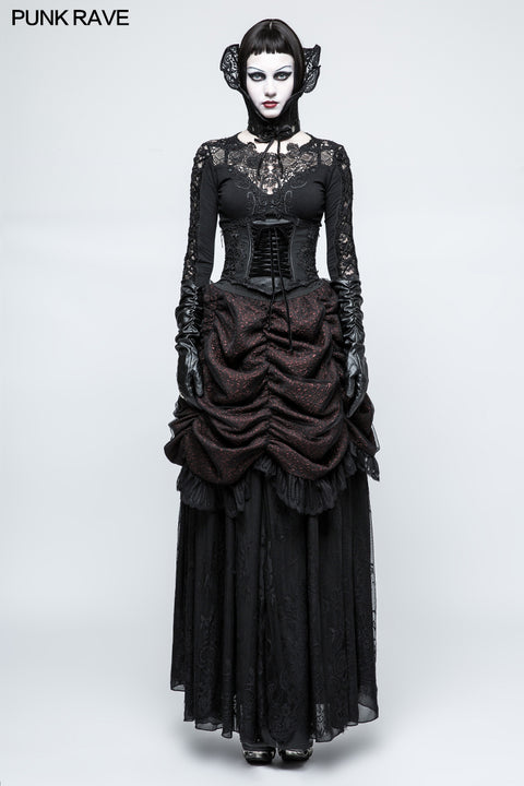 Gorgeous Flame Jacquard Gothic Skirt With Bubble Lace Hem