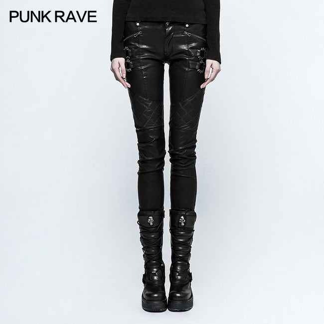 Black Grid Stitching Leather Punk Pants With Leg Zipper Design