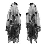 Exquisite Lace Gothic Accessories 3d Flower Gorgeous Veil With Flowing Mesh