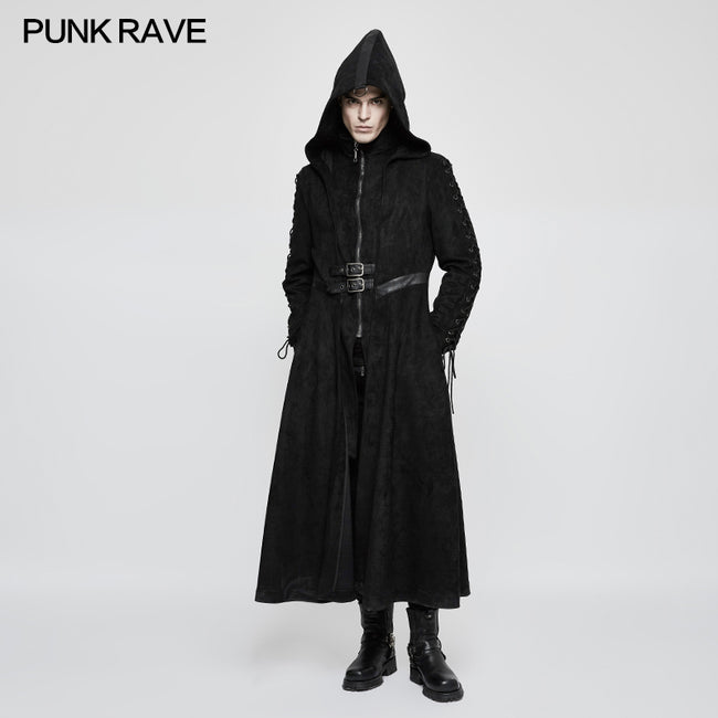 Winter Velvet Dark Angel Long Gothic Coat With Large Hat