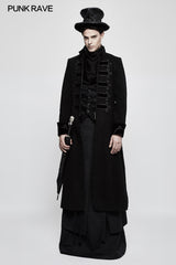 Exquisite Gorgeous Long Black Gothic Coat For Men