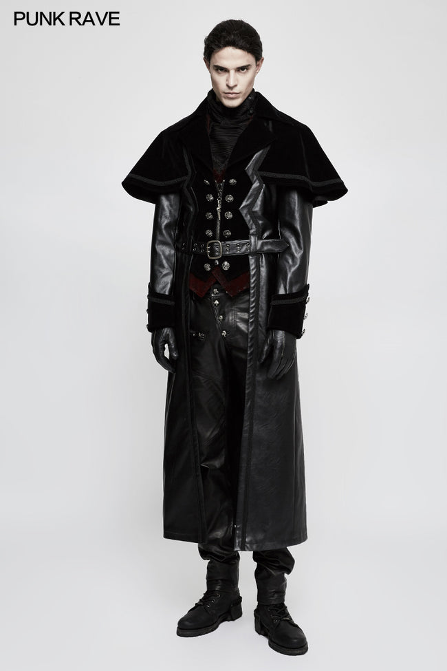 Winter Long Leather Velvet Gothic Coat With Active Belt