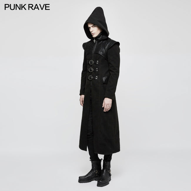 Stand-collar Long Leather Gothic Coat With Detachable Hat