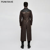 Winter Men Long Leather Punk Coat With Stand-up Collar