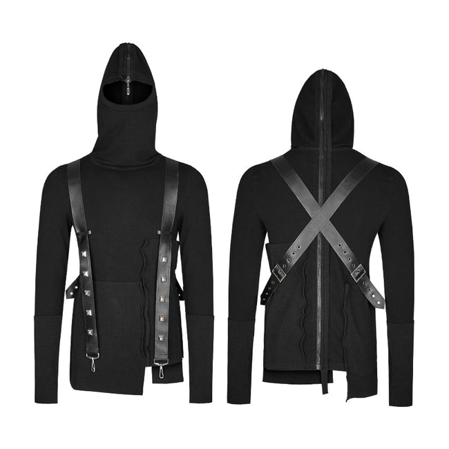 Spliced Thread Knitted Hooded Punk Sweaters Mysterious Warrior Design